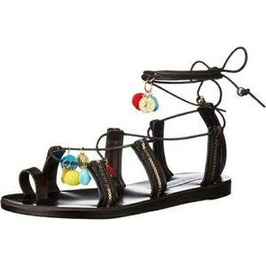 Black Steve Madden Pompom Gladiator sandals size 9